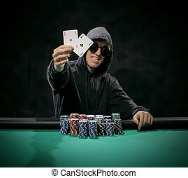 Portrait of a poker player