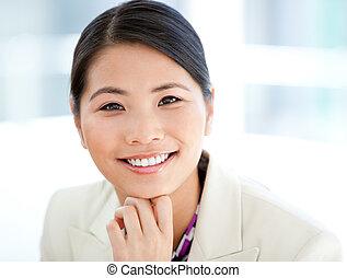 Portrait of a positive businesswoman