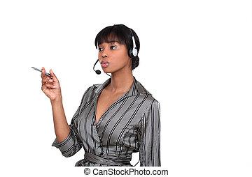 Portrait of a pretentious call centre agent
