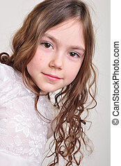pretty 8 year old girl in white dress