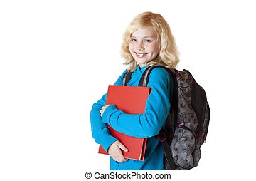 Portrait of a pretty and blond schoolgirl with schoolbag and folder