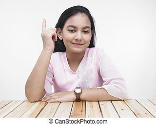 girl showing her index finger - portrait of a pretty asian...