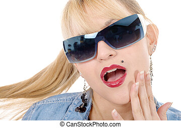 portrait of a pretty blonde woman with sunglasses