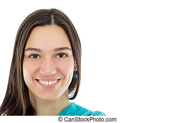 portrait of a pretty brunet young woman with brown hair looking at camera isolated on white
