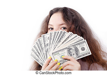 portrait of a pretty brunette girl with money