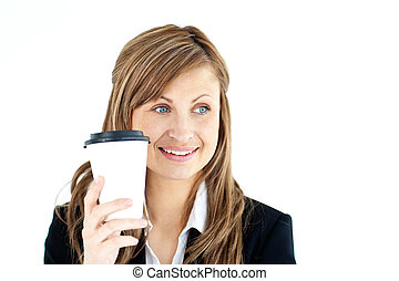 Portrait of a pretty businesswoman holding a coffee