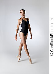 Portrait of a Pretty Female Ballet Dancer in Black Leotard