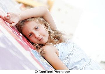 portrait of a pretty girl in summer