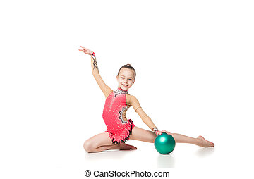 pretty little girl doing gymnastics with a ball over white background