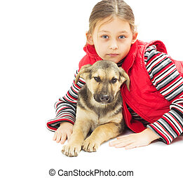 portrait of a pretty little girl in a red vest and a puppy on a