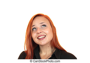smiling young woman looking up