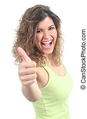 Portrait of a pretty teenager with thumb up - Portrait of a...