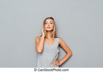 Portrait of a pretty woman posing isolated
