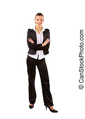 portrait of a pretty young business woman standing isolated on white background