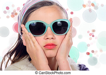 portrait of a pretty young girl with sunglasses