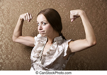 Young Woman Flexing Her Biceps