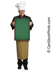 Portrait of a professional chef holding a blackboard.
