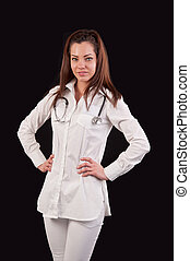 Portrait of a professional medical woman doctor, with stethoscope