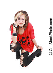 Portrait of a punk girl, isolated on white background