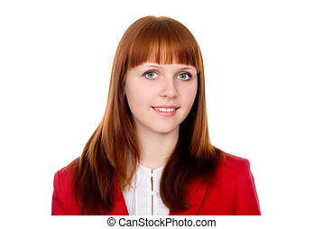 Portrait of a red-haired business woman in a red jacket