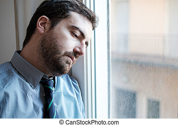 Portrait of a restless man face close up