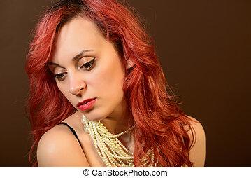 Portrait of a sad young woman