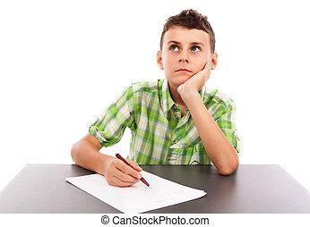 Portrait of a schoolboy doing his homework