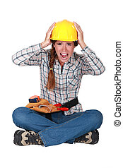 Portrait of a screaming tradeswoman