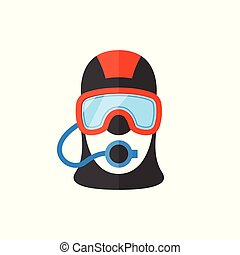 Portrait of a scuba diver in an professional equipment.