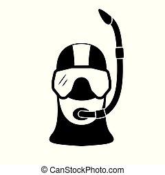 Portrait of a scuba diver in an professional equipment.