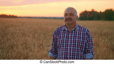 Portrait of a Senior adult farmer in a field of grain looking at the camera and smiling at sunset. The tractor driver takes off his cap and looks at the camera in slow motion