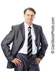 Portrait of a senior business man isolated on white.