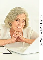 Portrait of a senior businesswoman with laptop