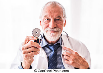 Portrait of a senior doctor in office.