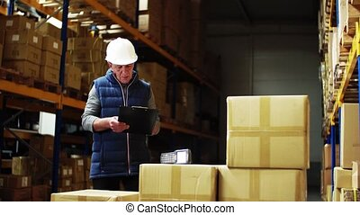 Portrait of a senior male warehouse worker or a supervisor controlling stock.