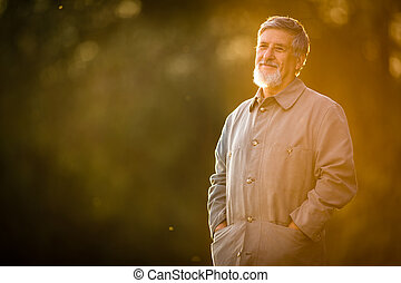Portrait of a senior man outdoors, walking in a park