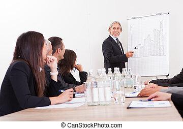 Portrait Of A Senior Manager Giving Presentation