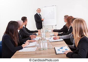Portrait Of A Senior Manager Giving Presentation
