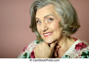 woman at home - Portrait of a senior woman at home