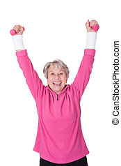 Portrait Of A Senior Woman Exercising