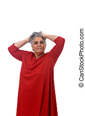 portrait of a senior woman hands on head,