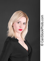 blonde on a black background