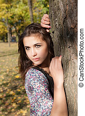 sensual girl in autumn park