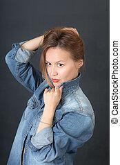 sensual girl in denim jacket