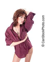 sensual girl in shirt