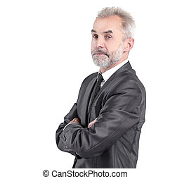 portrait of a serious businessman.isolated on grey background