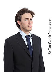 Portrait of a serious young executive isolated on a white...