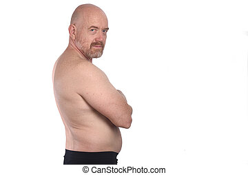 portrait of a shirtless man arms crossed on white background,