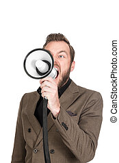 Portrait of a shouting businessman with megaphone