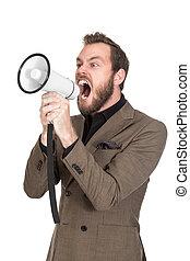 Portrait of a shouting businessman with megaphone